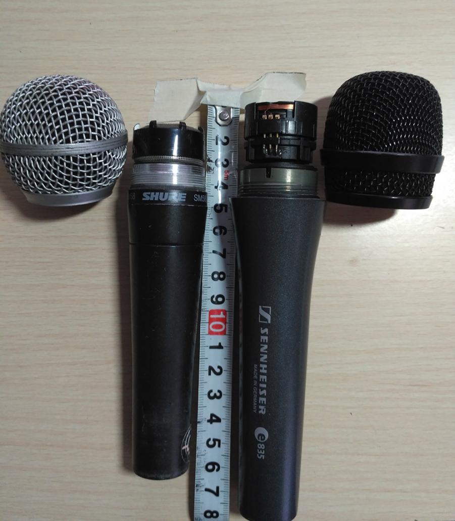 Diferentes distancias de las  cápsulas microfónicas de Shure SM58 y Sennheiser e835